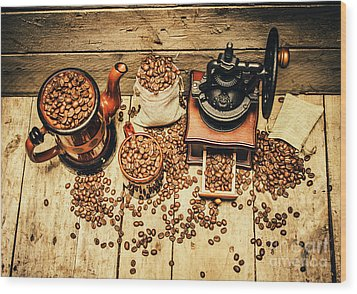 Retro Coffee Bean Mill Wood Print