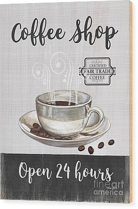 Wood Print featuring the painting Retro Coffee Shop 1 by Debbie DeWitt