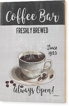 Wood Print featuring the painting Retro Coffee Shop 2 by Debbie DeWitt
