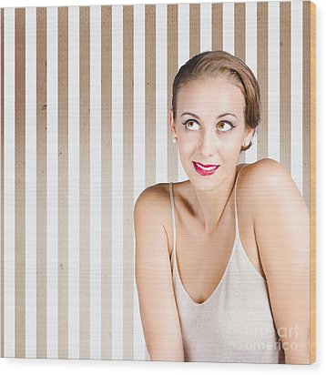 Retro Fashion Model Looking At Copyspace Wood Print by Jorgo Photography - Wall Art Gallery
