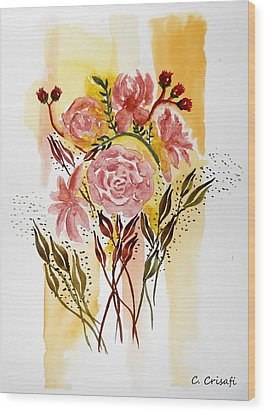 Retro Florals Wood Print