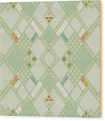 Wood Print featuring the digital art Retro Green Diamond Tile Vintage Wallpaper Pattern by Tracie Kaska