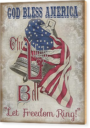 Wood Print featuring the digital art Retro Patriotic-a by Jean Plout