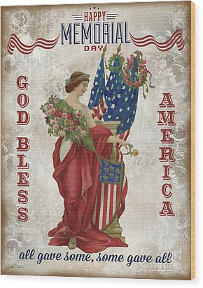 Wood Print featuring the digital art Retro Patriotic-b by Jean Plout