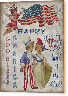 Wood Print featuring the digital art Retro Patriotic-c by Jean Plout