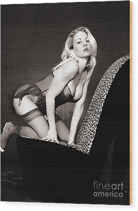 Retro Pinup Wood Print by Clayton Bruster