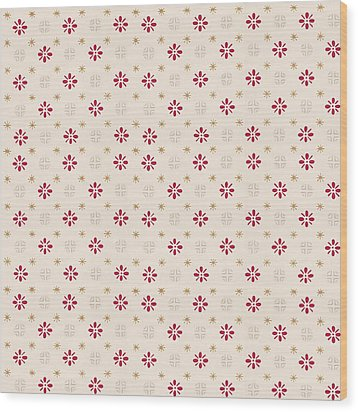 Wood Print featuring the digital art Retro Red Flower Gold Star Vintage Wallpaper by Tracie Kaska