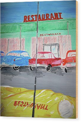 Retro Restaurant Wood Print by Rebecca Wood