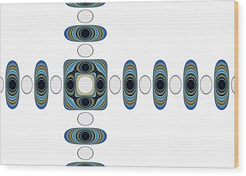 Wood Print featuring the digital art Retro Shapes 2 by Fran Riley