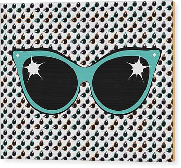Retro Turquoise Cat Sunglasses Wood Print