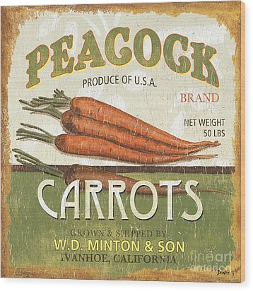 Retro Veggie Label 2 Wood Print by Debbie DeWitt