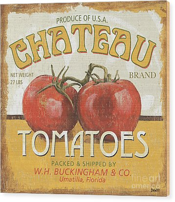 Retro Veggie Labels 4 Wood Print by Debbie DeWitt