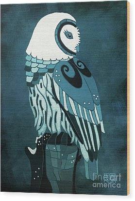 Retrospect In The Moonlight Owl Wood Print