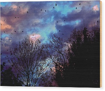 Return Of The Crows Wood Print by Martin Morehead