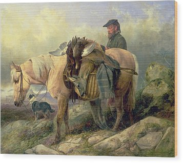 Returning From The Hill Wood Print by Richard Ansdell