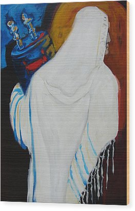 Returning The Torah Wood Print by Renee Kahn