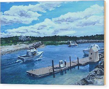 Returning To Sesuit Harbor Wood Print by Jack Skinner