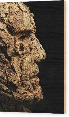 Revered A Natural Portrait Bust Sculpture By Adam Long Wood Print by Adam Long