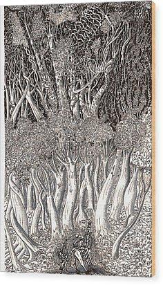 Revolution In Shitaki Forest Wood Print by Al Goldfarb