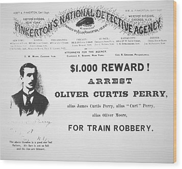 Reward Poster For The Arrest Of Oliver Perry Issued  Wood Print by American School