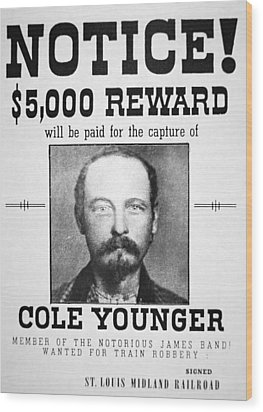 Reward Poster For Thomas Cole Younger Wood Print by American School
