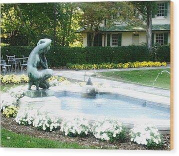 Reynolda Fountain Wood Print by Scarlett Royal