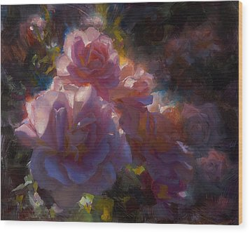 Wood Print featuring the painting Rhapsody Roses - Flowers In The Garden Painting by Karen Whitworth