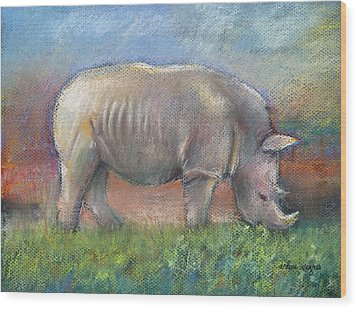 Rhino Wood Print by Arline Wagner