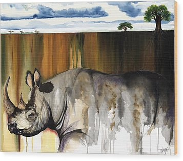Rhino I Rooted Ground Wood Print by Anthony Burks Sr