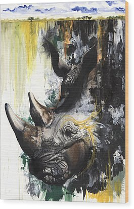 Rhino II Wood Print by Anthony Burks Sr