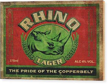 Wood Print featuring the digital art Rhino Lager by Greg Sharpe