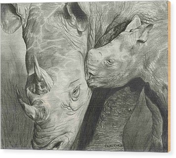 Rhino Love Wood Print