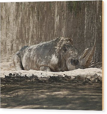 Wood Print featuring the digital art Rhino by Walter Chamberlain
