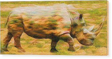 Rhinocerace Wood Print by Caito Junqueira