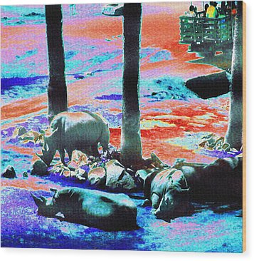 Rhinos Having A Picnic Wood Print by Abstract Angel Artist Stephen K