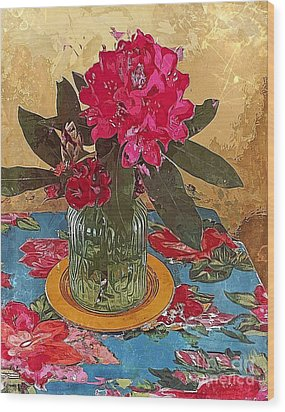 Wood Print featuring the digital art Rhododendron by Alexis Rotella