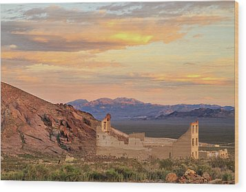 Wood Print featuring the photograph Rhyolite Bank At Sunset by James Eddy