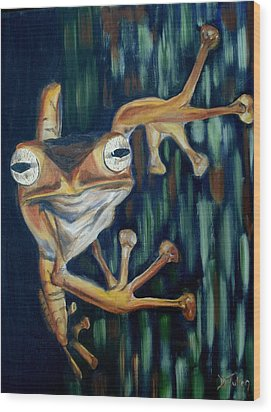 Wood Print featuring the painting Ribbit by Donna Tuten