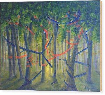 Ribbon Dance Wood Print