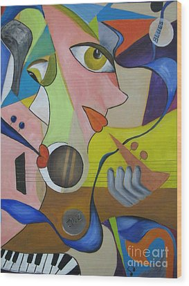 Wood Print featuring the painting Ribbon Of Blues And Jazz by Anna-maria Dickinson