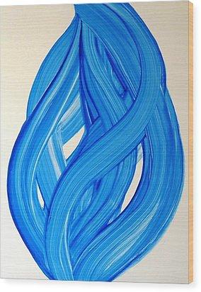 Ribbons Of Love-blue Wood Print