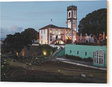 Ribeira Grande Town Hall Wood Print by Gaspar Avila