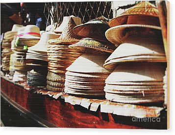 Wood Print featuring the photograph Rice Hats by Thanh Tran