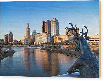 Rich Street Bridge Columbus Wood Print by Alan Raasch