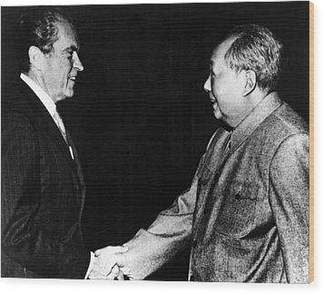 Richard Nixon, Mao Zedong In China, 1972 Wood Print by Everett