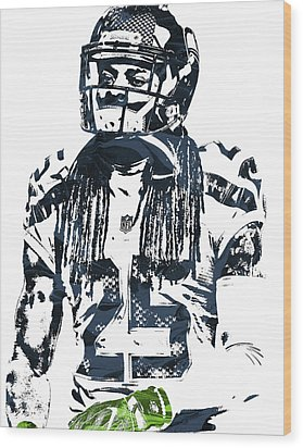 Richard Sherman Seattle Seahawks Pixel Art 4 Wood Print by Joe Hamilton