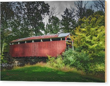 Wood Print featuring the photograph Richards Covered Bridge by Marvin Spates