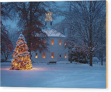 Richmond Vermont Round Church At Christmas Wood Print