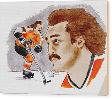 Wood Print featuring the drawing Rick Macleish - Color by Chris  DelVecchio
