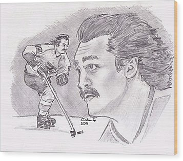 Wood Print featuring the drawing Rick Macleish 50 by Chris  DelVecchio